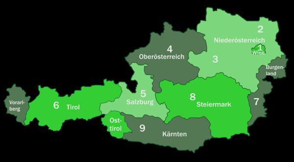 Österreichkarte mit PLZ-Bereichen