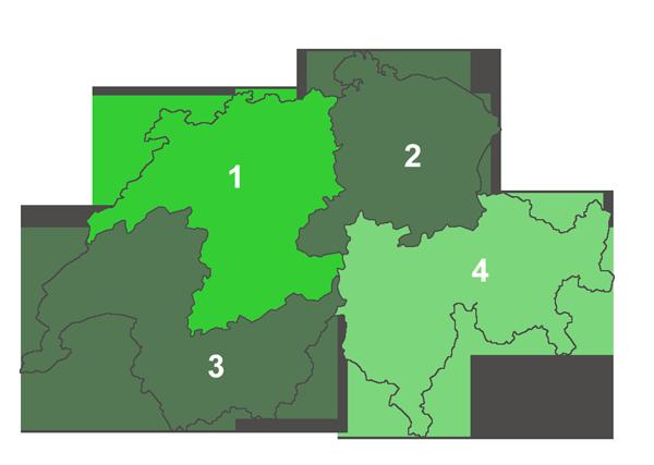 Schweizkarte mit PLZ-Bereichen